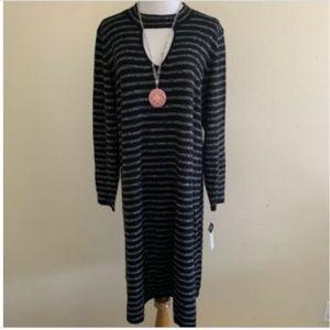 Sandra Darren PLUS black charcoal cutout dress